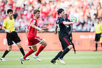 AC Milan Midfielder Riccardo Montolivo (R) fights for the ball with Bayern Munich Forward Thomas Muller (L) during the 2017 International Champions Cup China  match between FC Bayern and AC Milan at Universiade Sports Centre Stadium on July 22, 2017 in Shenzhen, China. Photo by Marcio Rodrigo Machado / Power Sport Images