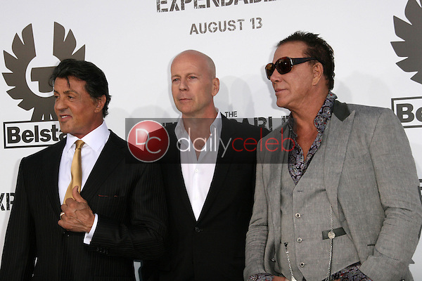"""Sylvester Stallone and Bruce Willis and Mickey Rourke<br /> at the """"The Expendables"""" Film Screening, Chinese Theater, Hollywood, CA. 08--03-10<br /> David Edwards/Dailyceleb.com 818-249-4998"""