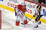 31 March 2007: Montreal Canadiens goaltender Jaroslav Halak (41) of Slovakia wanders out of his crease and battles Buffalo Sabres center Adam Mair (22) for control of the puck at the Bell Centre in Montreal, Canada...Mandatory Photo Credit: Ed Wolfstein Photo *** Editorial Sales through Icon Sports Media *** www.iconsportsmedia.com