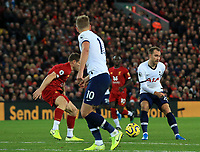 27th October 2019; Anfield, Liverpool, Merseyside, England; English Premier League Football, Liverpool versus Tottenham Hotspur; Christian Eriksen of Tottenham Hotspur plays a reverse pass into the penalty area for Harry Kane  - Strictly Editorial Use Only. No use with unauthorized audio, video, data, fixture lists, club/league logos or 'live' services. Online in-match use limited to 120 images, no video emulation. No use in betting, games or single club/league/player publications