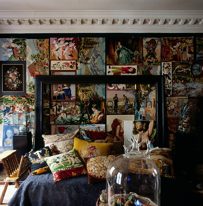 Inside one of the rooms in the apartment of artist Frederique Morrel. The apartment where she lives is also her studio and a reflection of her work. She works with tapestry to create animal heads, human figures and other objects