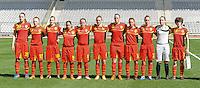 Belgium U19 - Ukraine U19 : <br /> <br /> Team Belgium U19 : Diede Lemey (1) - Pauline Windels (2) - Chlo&euml; Van Mingeroet (3) - Britt Vanhamel (4) - Margaux Van Ackere (6) - Lucinda Michez (8) - Lola Wajnblum (9) - Elke Van gorp (10) - Tinne Van Den Bergh (13) - Silke Leynen (17) - Tine De Caigny (20)<br /> <br /> foto Dirk Vuylsteke / Nikonpro.be