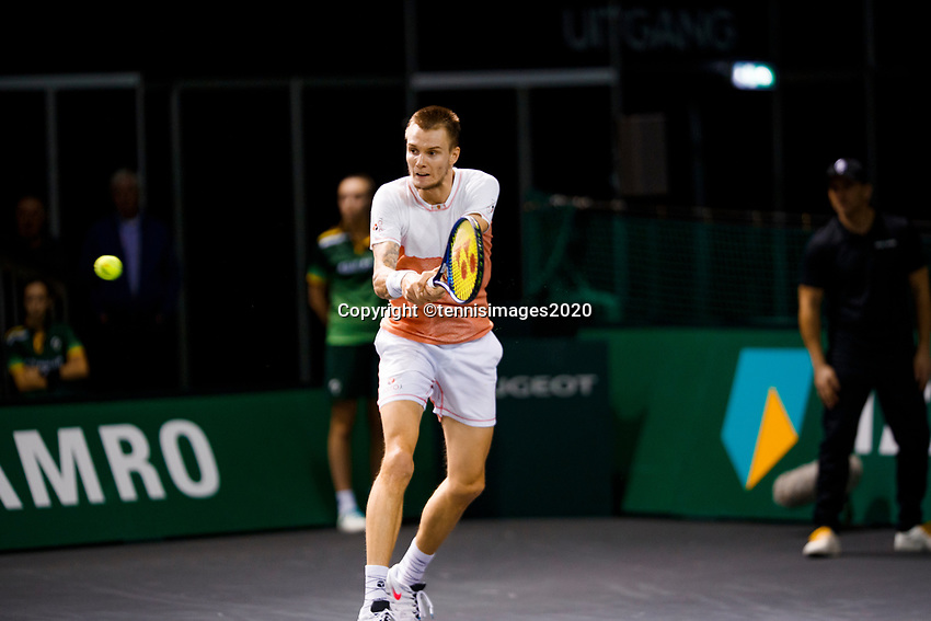 Rotterdam, The Netherlands, 11 Februari 2020, ABNAMRO World Tennis Tournament, Ahoy, <br /> Alexander Bublik (KAZ), Gregoire Barrere (FRA).<br /> Photo: www.tennisimages.com
