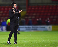 Lincoln City manager Danny Cowley applauds the fans at the final whistle<br /> <br /> Photographer Andrew Vaughan/CameraSport<br /> <br /> The EFL Sky Bet League Two - Crewe Alexandra v Lincoln City - Wednesday 26th December 2018 - Alexandra Stadium - Crewe<br /> <br /> World Copyright &copy; 2018 CameraSport. All rights reserved. 43 Linden Ave. Countesthorpe. Leicester. England. LE8 5PG - Tel: +44 (0) 116 277 4147 - admin@camerasport.com - www.camerasport.com