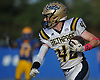 Matt Groom #42 of Bethpage picks up yards after a catch to move the chains for a first down in the third quarter of a Nassau County Conference III varsity football game against host Lawrence High School on Saturday, Oct. 7, 2017.