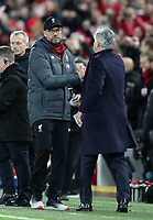5th January 2020; Anfield, Liverpool, Merseyside, England; English FA Cup Football, Liverpool versus Everton; Liverpool manager Jurgen Klopp shakes hands with Everton manager Carlo Ancelotti at the final whistle - Strictly Editorial Use Only. No use with unauthorized audio, video, data, fixture lists, club/league logos or 'live' services. Online in-match use limited to 120 images, no video emulation. No use in betting, games or single club/league/player publications