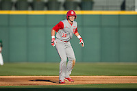 Jake Fincher (30) of the North Carolina State Wolfpack takes his lead off of second base against the Charlotte 49ers at BB&T Ballpark on March 31, 2015 in Charlotte, North Carolina.  The Wolfpack defeated the 49ers 10-6.  (Brian Westerholt/Four Seam Images)