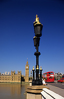 London. Big Ben, Houses of Parliament and Westminster Bridge. England