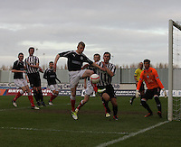Liam Rowan clears the corner at the Falkirk v St Mirren  Scottish Football Association Youth Cup 4th Round match played at the Falkirk Stadium, Falkirk on 16.12.12. .