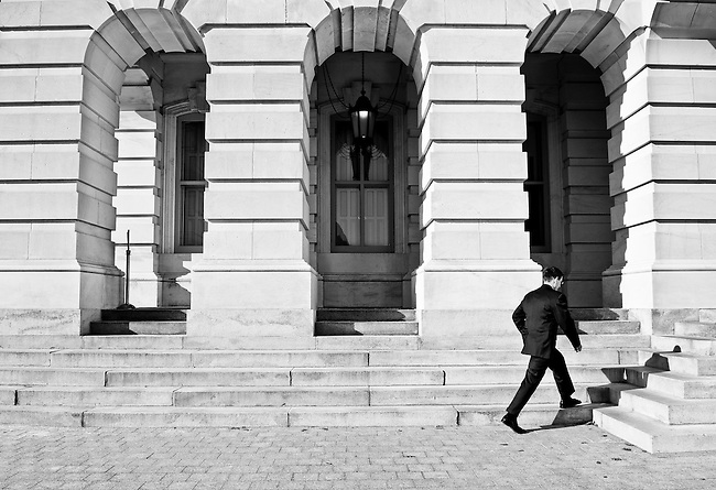 On his first full day as a member of the 112th Congress, Rep. Joe Heck, R-Nev., walks across the East Plaza to the Capitol for the House floor session on Thursday, Jan. 6, 2011.