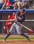 11 March 2013: Atlanta Braves outfielder Jordan Schafer in action during a Spring Training game against the Washington Nationals at Space Coast Stadium in Viera, Florida. The Braves defeated the Nationals 7-2 in Grapefruit League play. Mandatory Credit: Ed Wolfstein Photo *** RAW (NEF) Image File Available ***