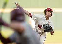 NWA Democrat-Gazette/BEN GOFF @NWABENGOFF<br /> Blaine Knight, Arkansas pitcher, delivers to a South Carolina batter Saturday, June 9, 2018, during game one of the NCAA Super Regional at Baum Stadium in Fayetteville.
