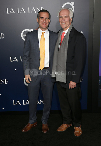 "Westwood, CA - DECEMBER 06:  Eric Garcetti, Gil Garcetti, At Premiere Of Lionsgate's ""La La Land"" At Mann Village Theatre, California on December 06, 2016. Credit: Faye Sadou/MediaPunch"