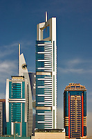 Contemporary high rise buildings on Sheikh Zayed Road. Dubai. United Arab Emirates.