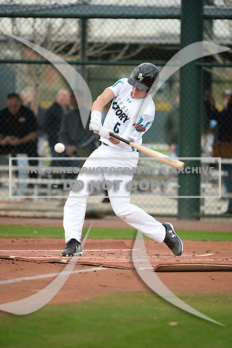 Jackson Lancaster (6) of Corinth High School in Corinth, Mississippi during the Under Armour All-American Pre-Season Tournament presented by Baseball Factory on January 14, 2017 at Sloan Park in Mesa, Arizona.  (Art Foxall/Mike Janes Photography)