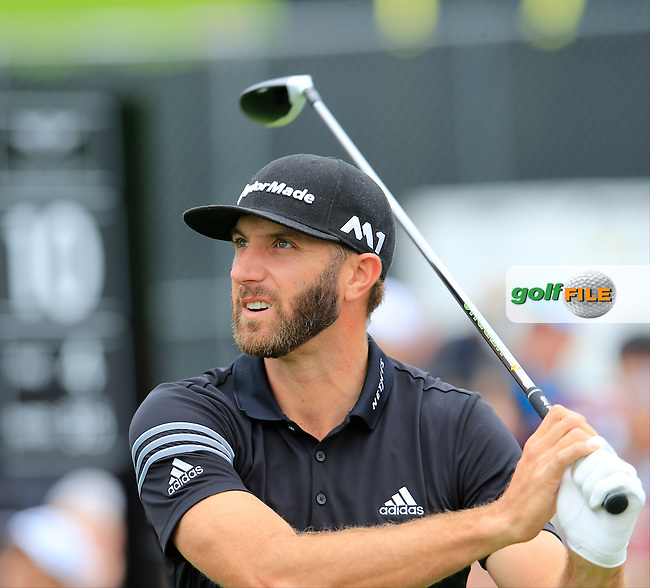 Dustin Johnson (USA) tees off the 10th tee during Saturday's rain delayed Round 2 of the 2017 Genesis Open held at The Riviera Country Club, Los Angeles, California, USA. 18th February 2017.<br /> Picture: Eoin Clarke | Golffile<br /> <br /> <br /> All photos usage must carry mandatory copyright credit (&copy; Golffile | Eoin Clarke)