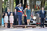 King Felipe VI of Spain (C), Princess Leonor of Spain (2l), Princess Sofia of Spain (l), Queen Letizia of Spain (c-r) and the President of Government of Spain Mariano Rajoy attend Spain's National Day Military Parade. October 12 ,2014. (ALTERPHOTOS/Pool)