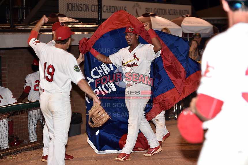 Johnson City Cardinals celebrate after Game Two of the Appalachian League Championship series against the Burlington Royals at TVA Credit Union Ballpark on September 7, 2016 in Johnson City, Tennessee. The Cardinals defeated the Royals 11-6 to win the series 2-0.. (Tony Farlow/Four Seam Images)