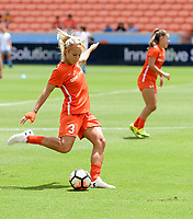 Houston, TX - Saturday April 15, 2017:  Rachel Daly warming up during a regular season National Women's Soccer League (NWSL) match won by the Houston Dash 2-0 over the Chicago Red Stars at BBVA Compass Stadium.