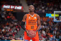 VALENCIA, SPAIN - NOVEMBER 22: Romain Sato during Endesa League match between Valencia Basket Club and Retabet.es GBC at Fonteta Stadium on November 22, 2015 in Valencia, Spain
