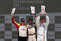 Race 1, Platinum Masters Podium, #36 TPC Racing, Porsche 991 / 2017, GT3P: Michael Levitas (M), #45 Wright Motorsports, Porsche 991 / 2018, GT3P: Charlie Luck (M), #43 JDX Racing, Porsche 991 / 2017, GT3P: Mark Kvamme (M)