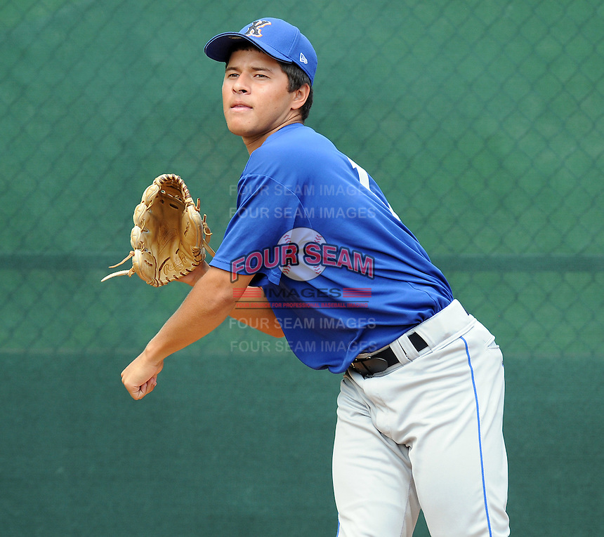 August 2, 2009: LHP Angel Cuan (1) of the Kingsport Mets, rookie Appalachian League affiliate of the New York Mets, before a game at Pioneer Park in Greeneville, Tenn. Photo by:  Tom Priddy/Four Seam Images
