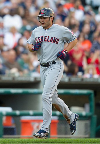 June 06, 2012:  Cleveland Indians designated hitter Johnny Damon (33) during MLB game action between the Cleveland Indians and the Detroit Tigers at Comerica Park in Detroit, Michigan.  The Indians defeated the Tigers 9-6.