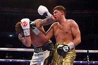 James Branch Jnr (gold shorts) defeats Kieiran Pitman during a Boxing Show at the Royal Albert Hall on 8th March 2019