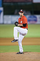 Kannapolis Intimidators relief pitcher Danny Dopico (27) in action against the West Virginia Power at Kannapolis Intimidators Stadium on August 20, 2016 in Kannapolis, North Carolina.  The Intimidators defeated the Power 4-0.  (Brian Westerholt/Four Seam Images)