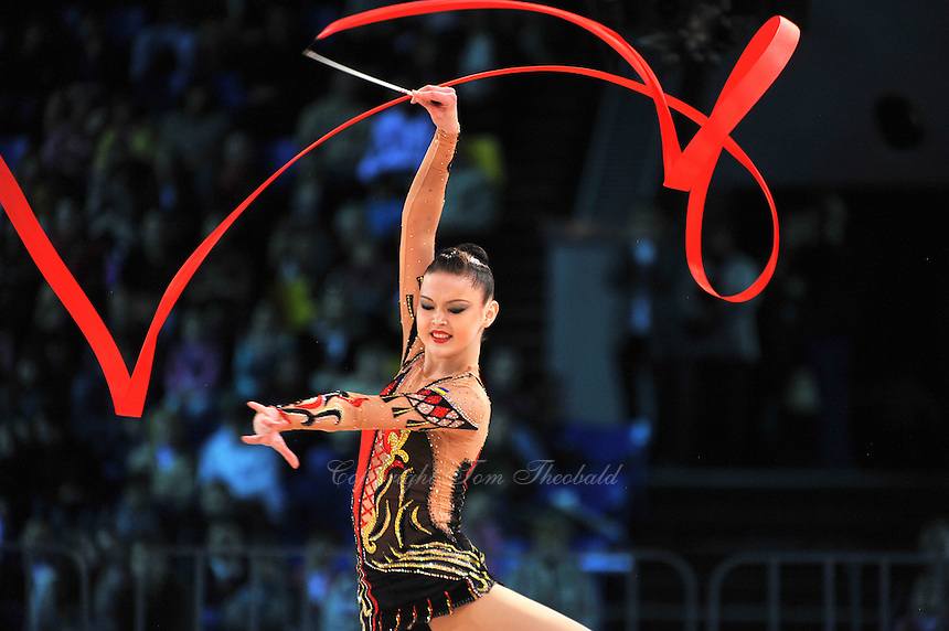 "ALINA MAKSYMENKO  of Ukraine performs with ball to win Event Final at 2011 World Cup Kiev, ""Deriugina Cup"" in Kiev, Ukraine on May 8, 2011."