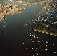 "1991 June ..Redevelopment.Downtown South (R-9)..Harborfest Aerials from helicopter.Low angle from Portsmouth.2 1/4""  color negs...NEG#.NRHA#.06/91  (REDEV  :DT  Sth3:2  :16  :1-F10)."