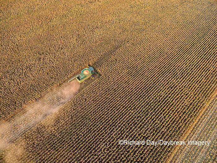 63801-08602 Corn Harvest, John Deere combine harvesting corn - aerial Marion Co. IL
