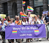 NEW YORK, NY - JUNE 26:  Al Sharpton, Chirlane McCray and NYC Mayor Bill de Blasio march  in the 2016 NYC Gay Pride Parade  in New York, New York on June 26, 2016.  Photo Credit: Rainmaker Photo/MediaPunch