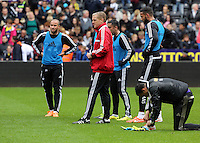 Wednesday, 23 April 2014<br /> Pictured: Head coach Garry Monk (C).<br /> Re: Swansea City FC are holding an open training session for their supporters at the Liberty Stadium, south Wales,