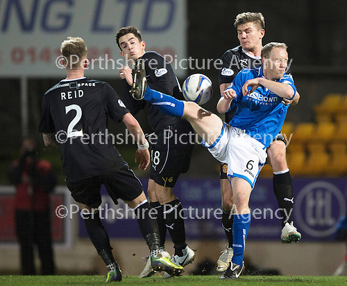 St Johnstone v Motherwell....25.02.14    SPFL<br /> Steven Anderson battles with Shaun Hutchison, Stuart Carswell and Craig Reid<br /> Picture by Graeme Hart.<br /> Copyright Perthshire Picture Agency<br /> Tel: 01738 623350  Mobile: 07990 594431