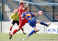 Andy Edmunds of Romford (R) is challenged by Marc Gobel of Aveley - Romford vs Aveley - Pre-Season Friendly Match at Mill Field, Aveley FC - 31/07/10 - MANDATORY CREDIT: Gavin Ellis/TGSPHOTO - Self billing applies where appropriate - Tel: 0845 094 6026