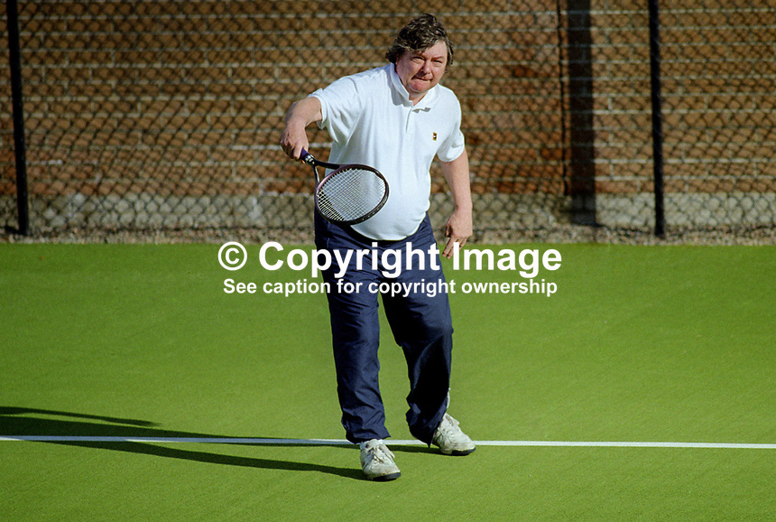Peter Forde, solicitor, Windsor Avenue North, Belfast, N Ireland, taken Windsor Lawn Tennis Club where he is a member. Uncertain actual date taken. 200100001234PF..Copyright Image from Victor Patterson, 54 Dorchester Park, Belfast, United Kingdom, UK...For my Terms and Conditions of Use go to http://www.victorpatterson.com/Victor_Patterson/Terms_%26_Conditions.html