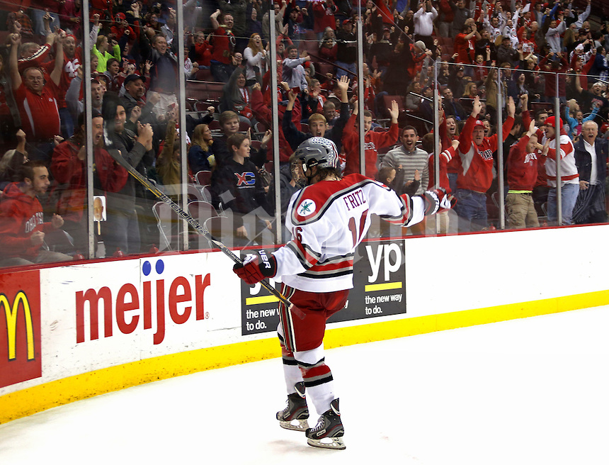 Tanner Fritz celebrates tying goal against Michigan at Value City Arena in Columbus Dec. 2, 2013.