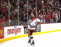 Tanner Fritz celebrates tying goal against Michigan at Value City Arena in Columbus Dec. 2, 2013.