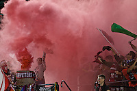Portland, Oregon - Saturday July 9, 2016: Thorns supporters celebrate a goal during a regular season National Women's Soccer League (NWSL) match at Providence Park.