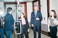 Democratic presidential candidate and former governor of Maryland Martin O'Malley arrives before speaking at a small town hall event at McLane law firm in Manchester, New Hampshire. The firm holds a town hall series, inviting candidates to speak at their headquarters.