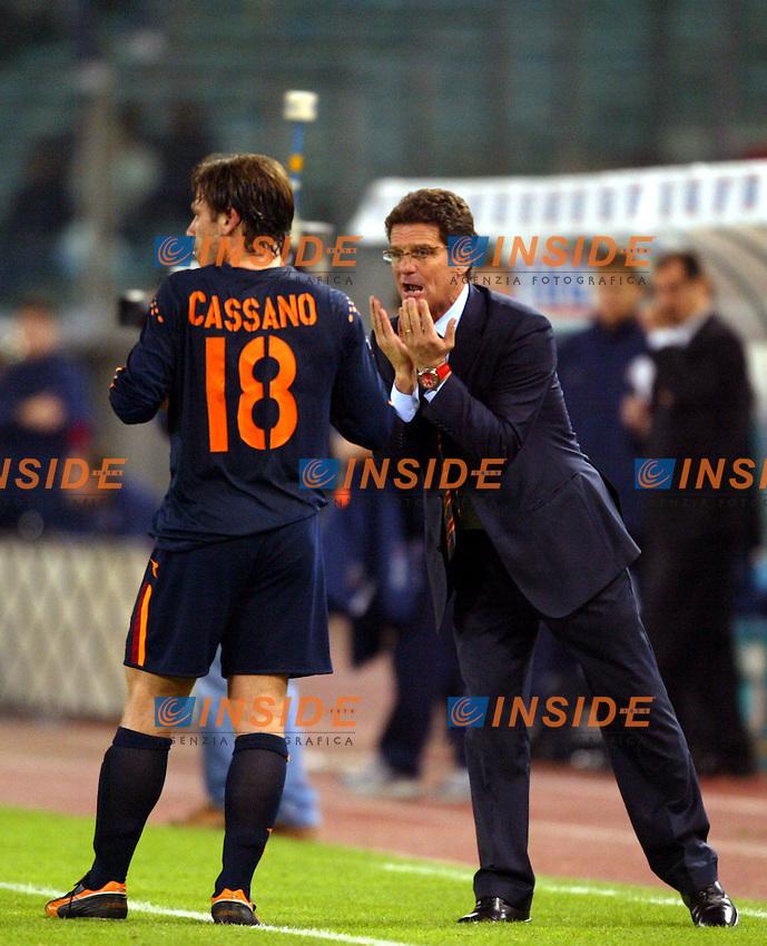 Roma 6/11/2003 Uefa Cup / Coppa Uefa <br /> Roma Hajduk split 1-0 <br /> Antonio Cassano e Fabio Capello (Roma)<br /> Foto Andrea Staccioli Insidefoto