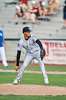 Grand Junction Rockies starting pitcher Eris Filpo (22) delivers a pitch to the plate against the Ogden Raptors at Lindquist Field on July 25, 2018 in Ogden, Utah. The Rockies defeated the Raptors 4-0. (Stephen Smith/Four Seam Images)