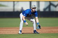 Duke Blue Devils third baseman Erikson Nichols (42) on defense against the Coastal Carolina Chanticleers at Segra Stadium on November 2, 2019 in Fayetteville, North Carolina. (Brian Westerholt/Four Seam Images)