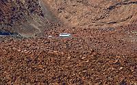 Coach traveling through the Parque nacional de las Cañadas,Tenerife, Canary Islands, Spain