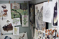 Paintings and illustrations done by Jada Fitch hang in her living room, which doubles as her art studio, in Portland, Maine, USA, on Fri., July 28, 2017. Fitch has recently been making birdhouses that look like living rooms with small portraits of birds. The birdhouses sell out within minutes on her Etsy store.