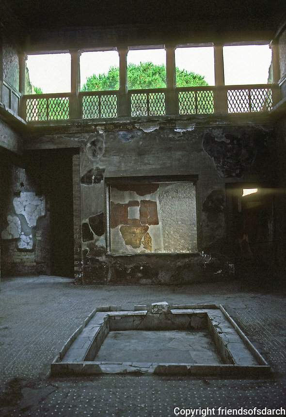 Italy: Herculaneum--Atrium of Casa Sannitica (House of Samnites). In Tuscan style--gallery above, Iconic columns. Photo '83.