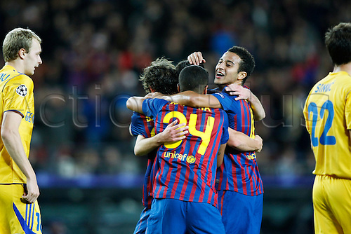 Barcelona team group, DECEMBER 6, 2011 - Football / Soccer : Barcelona team group celebrate thier 1st goal during the UEFA Champions League Group H match between FC Barcelona 4-0 Bate Borisov at Camp Nou stadium in Barcelona, Spain.