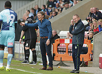 Gareth Ainsworth (Manager) (L) and Richard Dobson<br /> (Assistant manager ) (R) of Wycombe Wanderers look on  frustrated during the Sky Bet League 2 match between Morecambe and Wycombe Wanderers at the Globe Arena, Morecambe, England on 29 April 2017. Photo by Stephen Gaunt / PRiME Media Images.