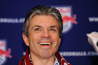 New York Red Bulls general manager and sporting director Erik Soler laughs at a reporters comment during a press conference at Red Bull Arena in Harrison, NJ, on January 13, 2010.
